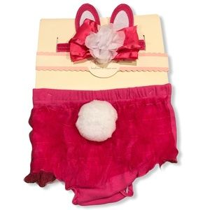 NWT Baby bunny headband and diaper cover
